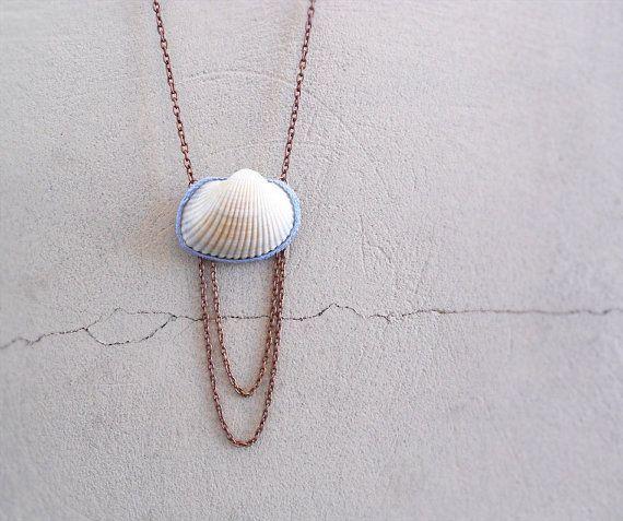 Natural Seashell Necklace Pastel Blue Crochet Copper Chain
