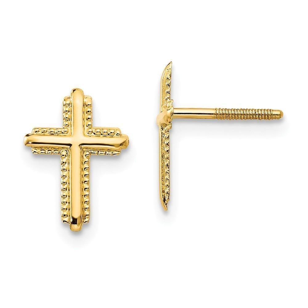 Mia Diamonds 14k Yellow Gold Polished Latin Cross Pendant