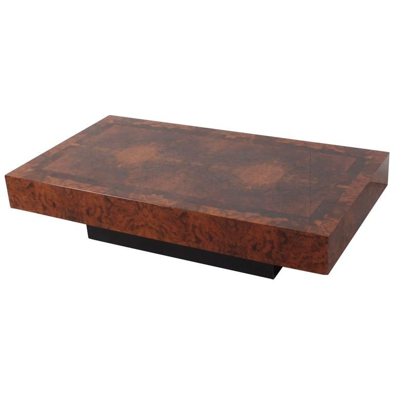 Willy Rizzo Style Burl Wood Coffee Table 1970s