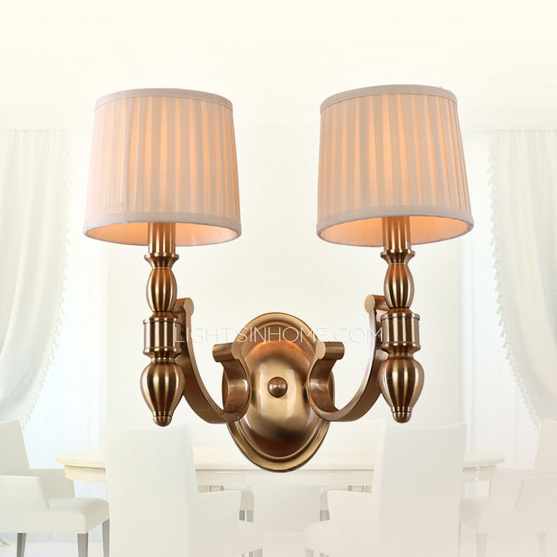 2 Light Bedroom Fabric Shade Asian Wall Sconces Fixtures