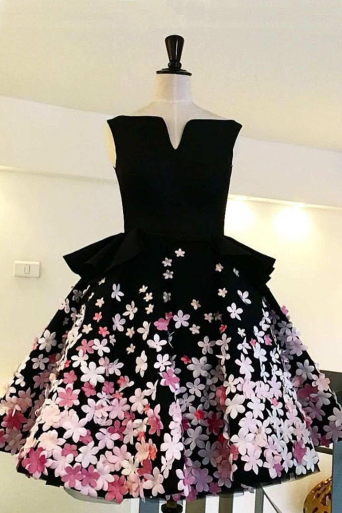 Unique black satin short d flower prom dress black homecoming