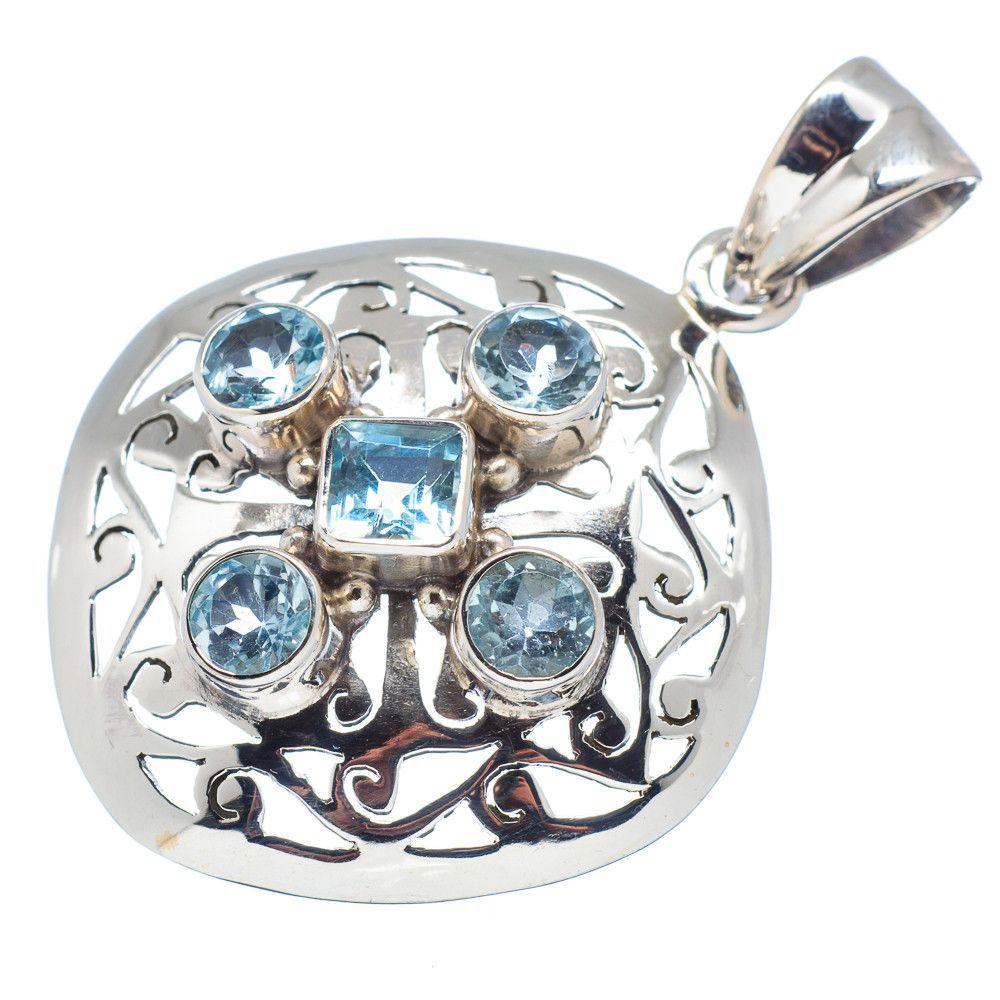 "Blue Topaz 925 Sterling Silver Pendant 1 3/4"" PD531377"