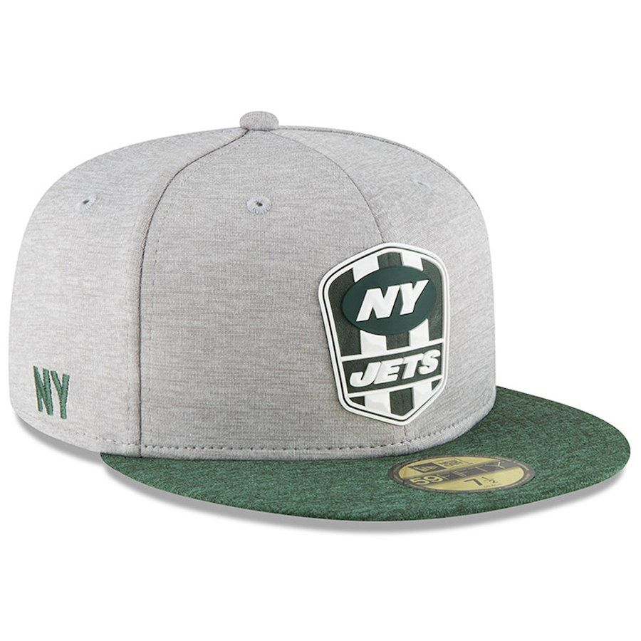 28e085f4a24440 Men's New York Jets New Era Heather Gray/Green 2018 NFL Sideline Road  Official 59FIFTY Fitted Hat, $37.99