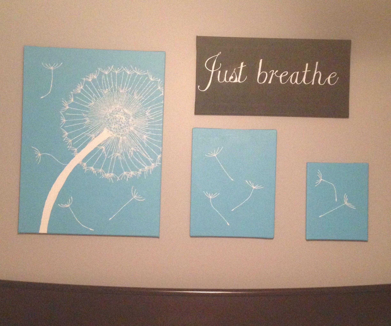 Dandelion Canvas Painting Just Breathe Diy Wall Art Bathroom
