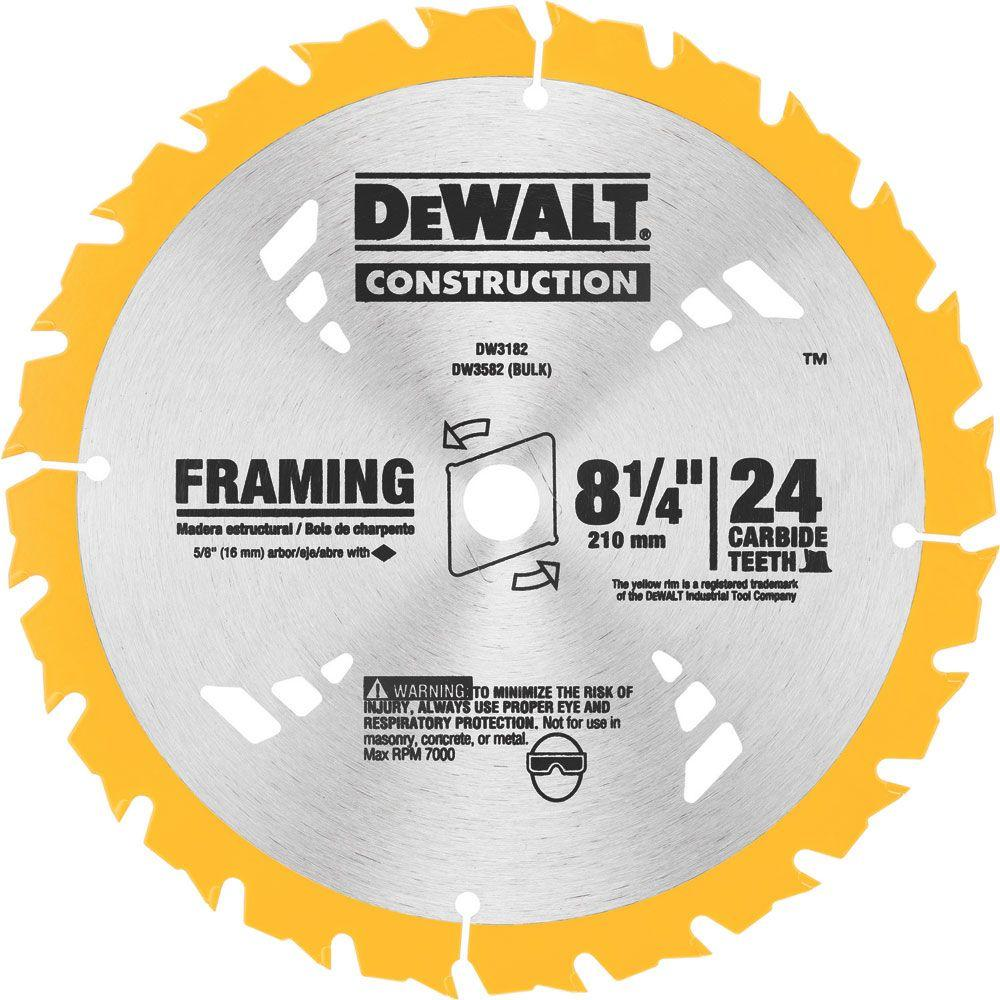 Dewalt 8 1 4 In 24t Carbide Framing Circular Saw Blade Dw3182 The Home Depot Circular Saw Blades Circular Saw Dewalt