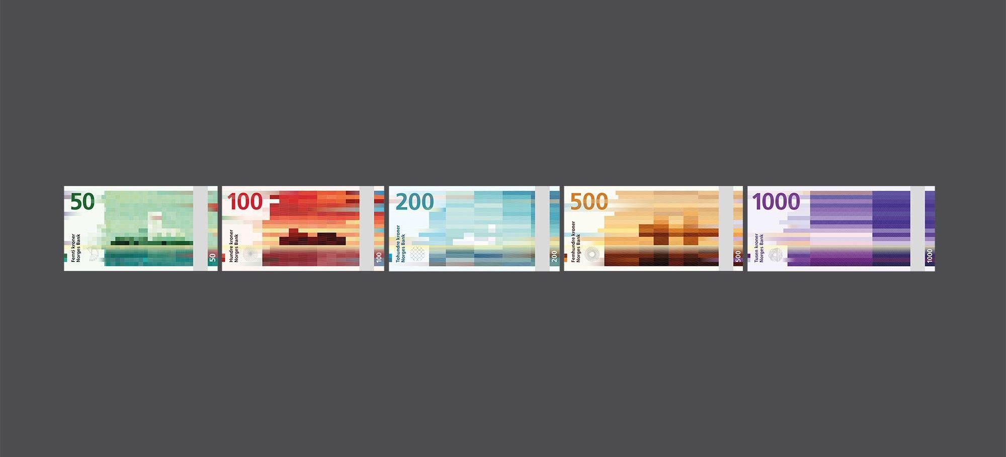 Winning design proposal for the new Norwegian money bill    © Snøhetta