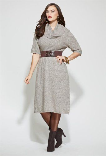 Avenue Plus Size Belted Cowl Neck Sweater Dress For Only 2900 You