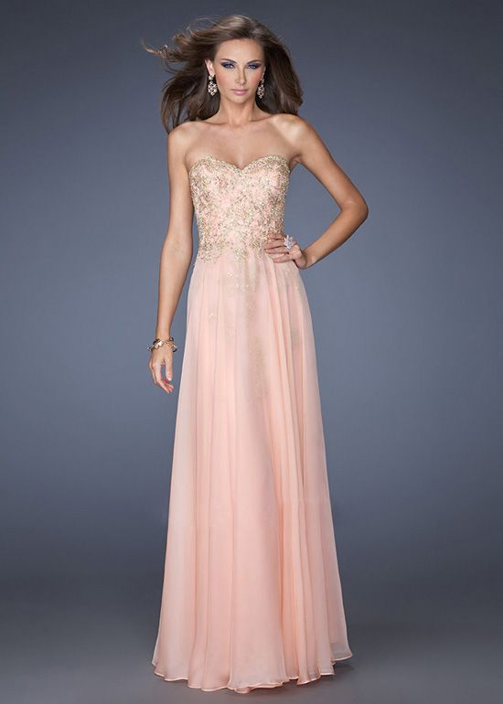 Pink Strapless Gold Sequin Lace Top Long Prom Dress | Wedding Ideas ...
