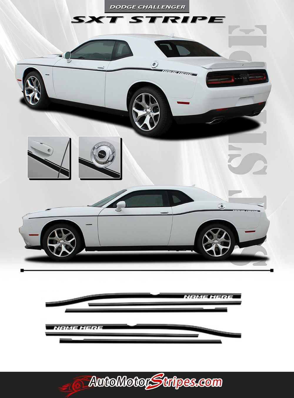 Dodge Challenger 2015-2017  side vinyl Decal SRT Stripe Complete Graphic Kit