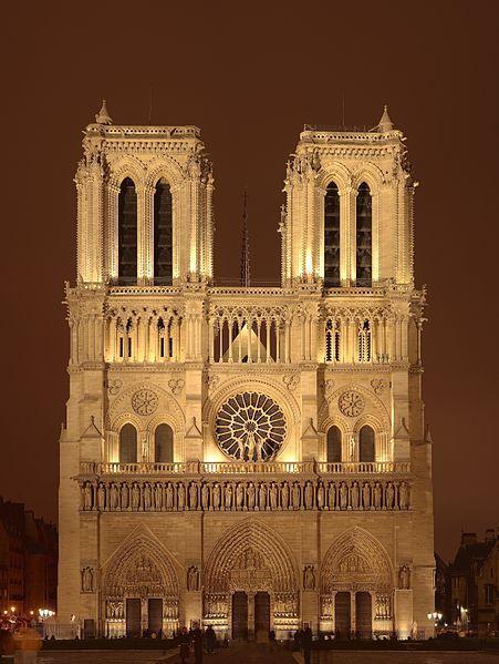 La cathédrale Notre-Dame de Paris, Notre-Dame de Paris ou Notre-Dame est la cathédrale de l'archidiocèse catholique de Paris.  Elle est située sur la moitié Est de l'île de la Cité, dans le quatrième arrondissement de Paris. Sa façade occidentale domine le parvis Notre-Dame - place Jean-Paul-