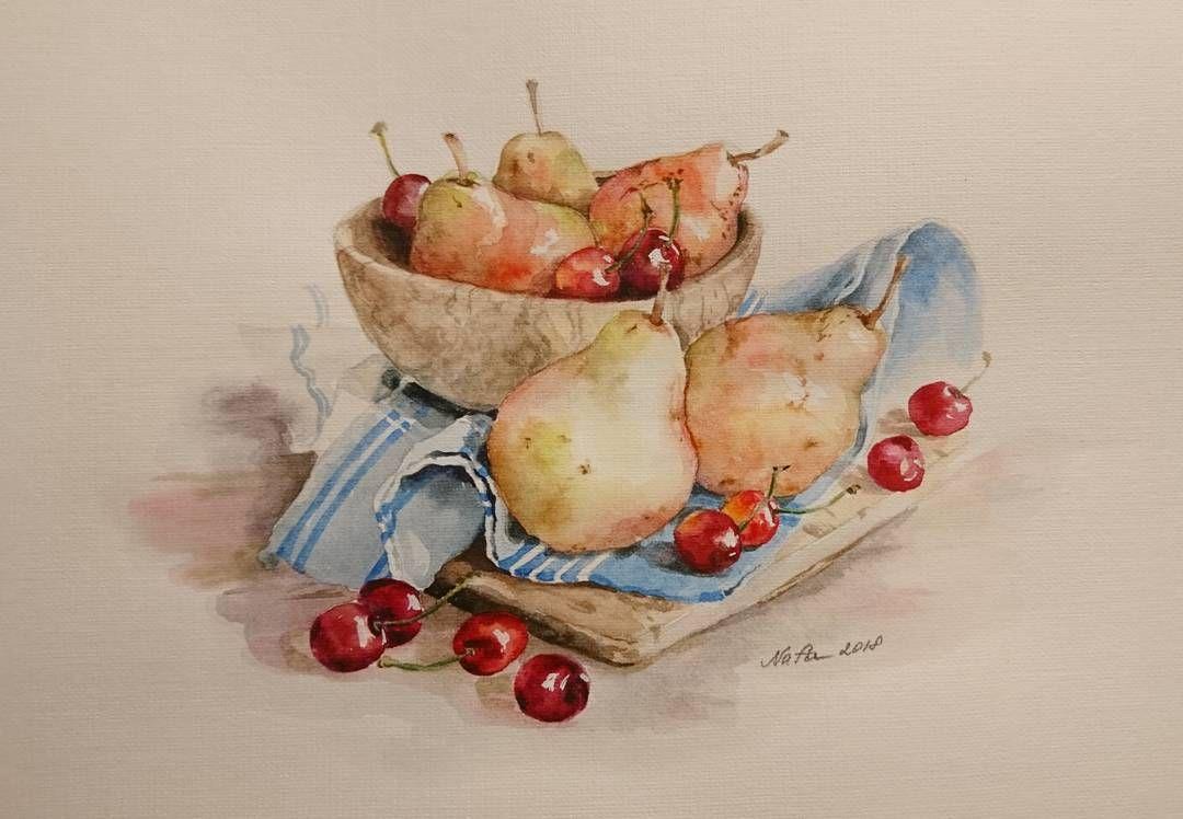 Natyurmort S Grushami Akvarel Format A4 Kartina Akvarel
