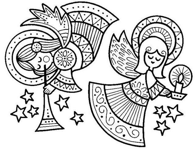 Ángeles celestiales - Dibujalia - Dibujos para colorear - Navidad ...