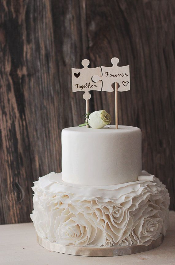 Wedding Cake Flags  Wood Burned Puzzle Pieces  Best Day Ever  Wooden Cake Top