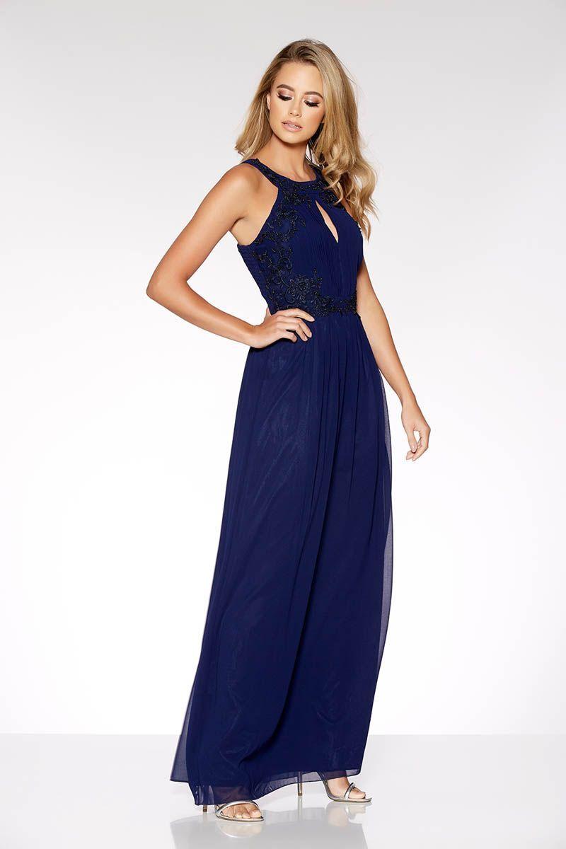 Navy chiffon embelished maxi dress quiz clothing