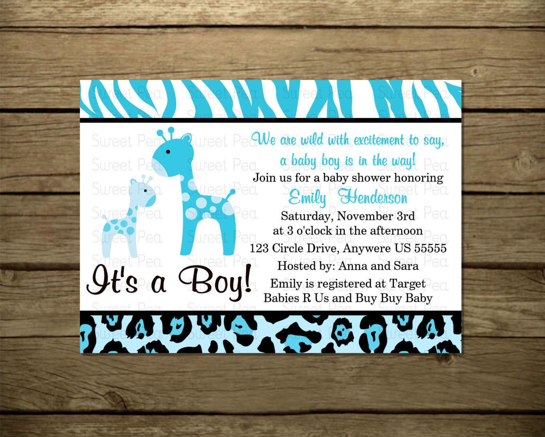 Blue Boy Giraffe Baby Shower Baby Shower Invitation OR Thank you ...