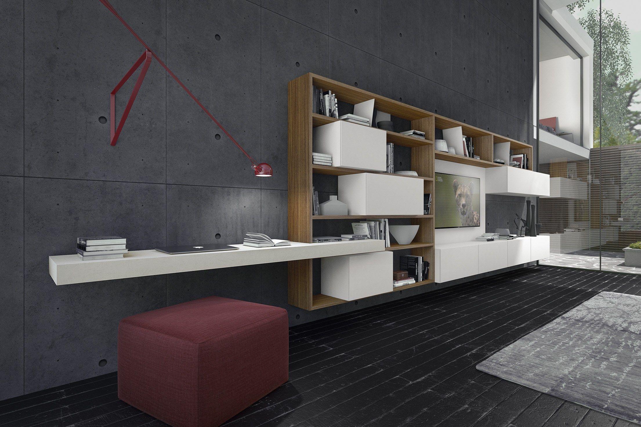 Parete attrezzata componibile in legno crossart 529 by for Presotto parete attrezzata