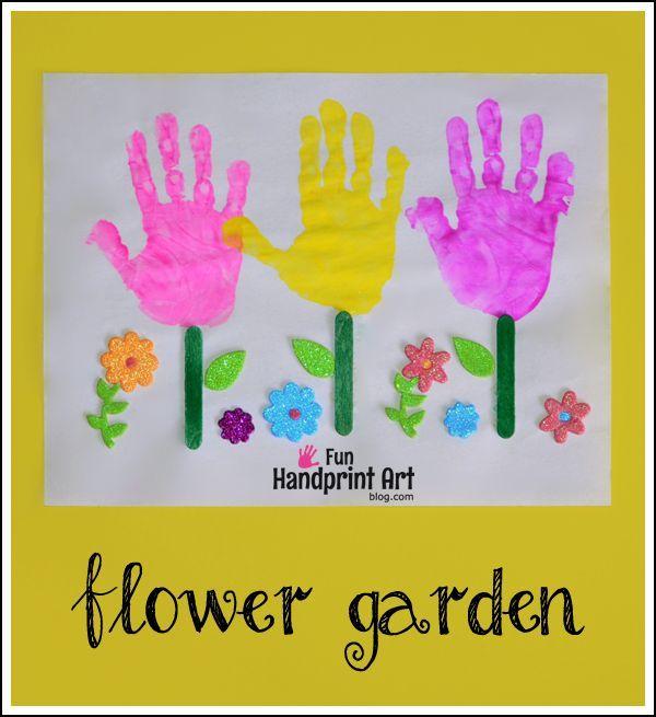 Gardening Craft Ideas Part - 35: Handprint Flower Garden Craft For Kids