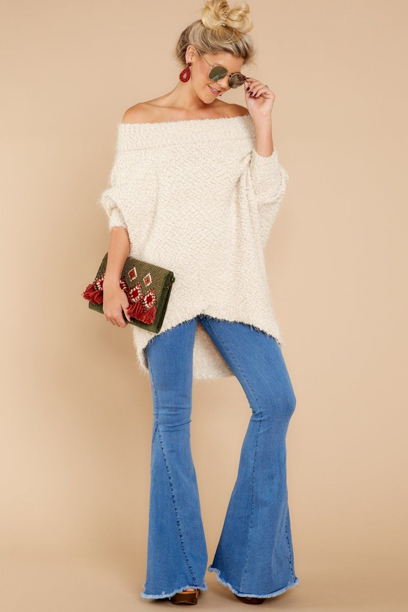 Cozy chic white off the shoulder sweater fashion pinterest