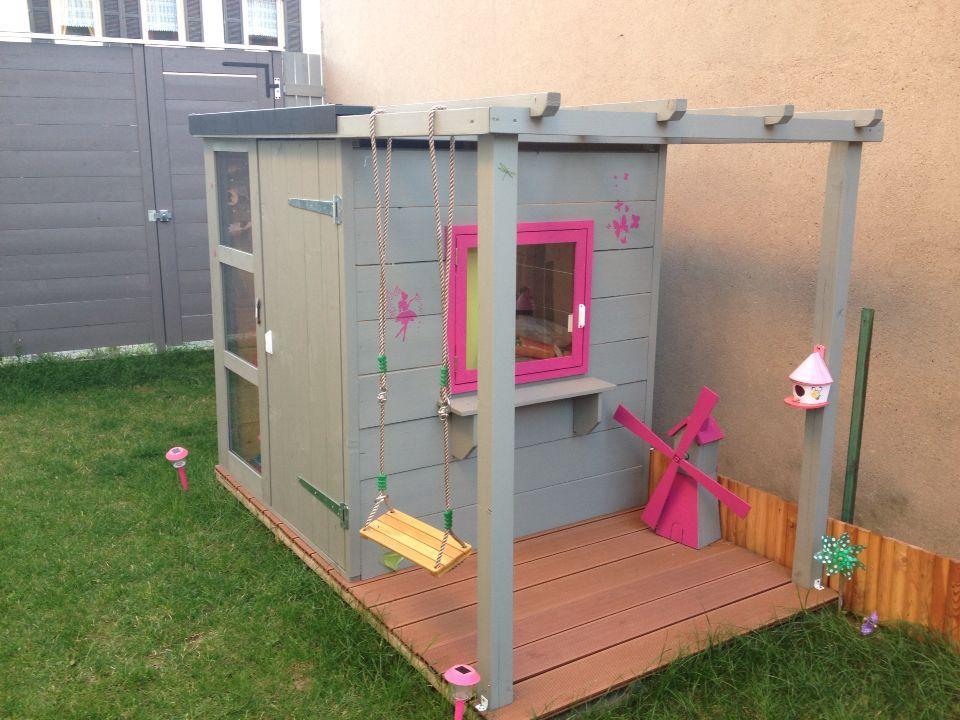 Cabane Jardin Enfant Bois Avec Pergolas En Bois Et Terrasse En