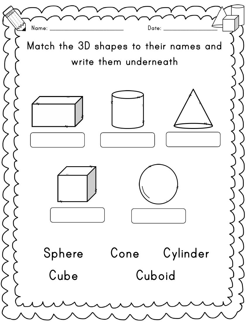 Year 1 3D shapes 10 Worksheets Shapes worksheet