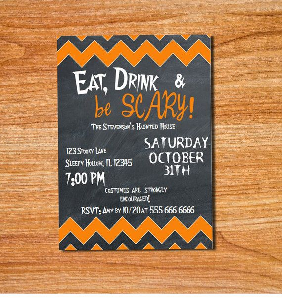 Eat Drink & Be Scary Printable Halloween Invitation