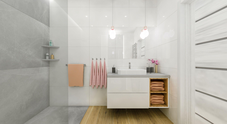 Jasna łazienka łazienka W Stylu Nowoczesnym Drewno W