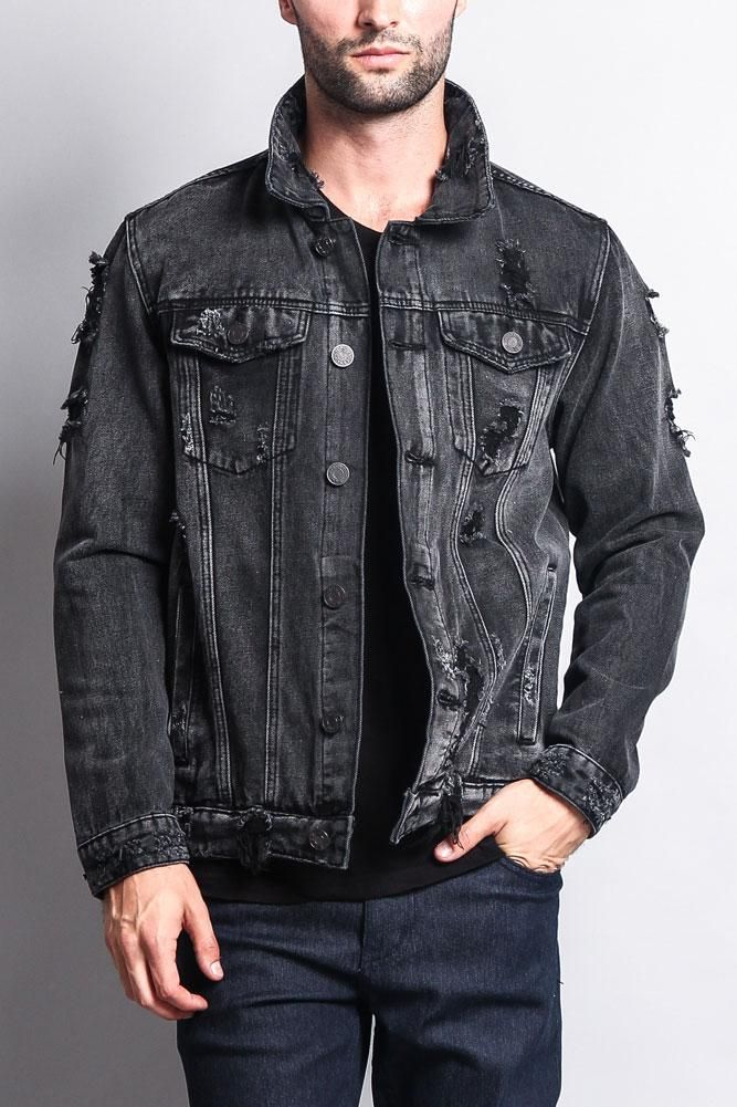 The classic denim jacket is here for a comeback! Now offered in distressed  wash ba7ca43a7de