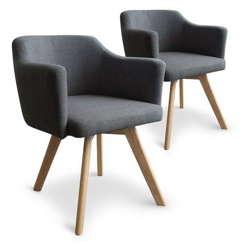 Lot de 2 fauteuils scandinaves silke tissu gris foncé | Tendance ...