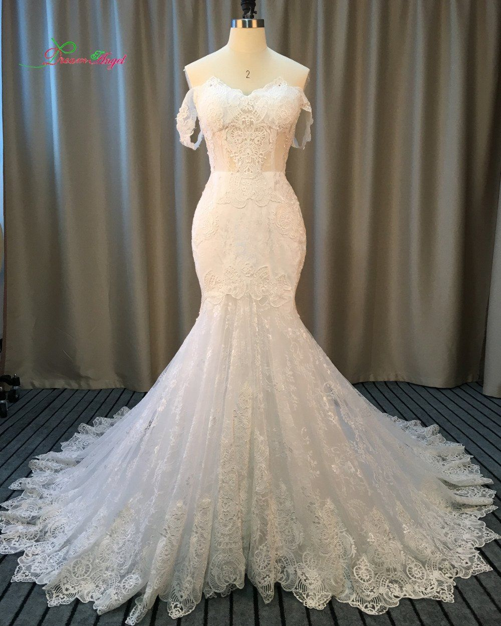 Dream angel elegant strapless appliques lace mermaid wedding dresses