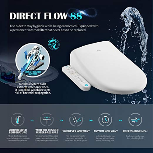 Inus Elongated Bidet Toilet Seat With Advanced Self Cleaning