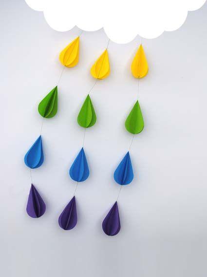Gotas de lluvia de colores   Decoración   Pinterest   Manualidades ...