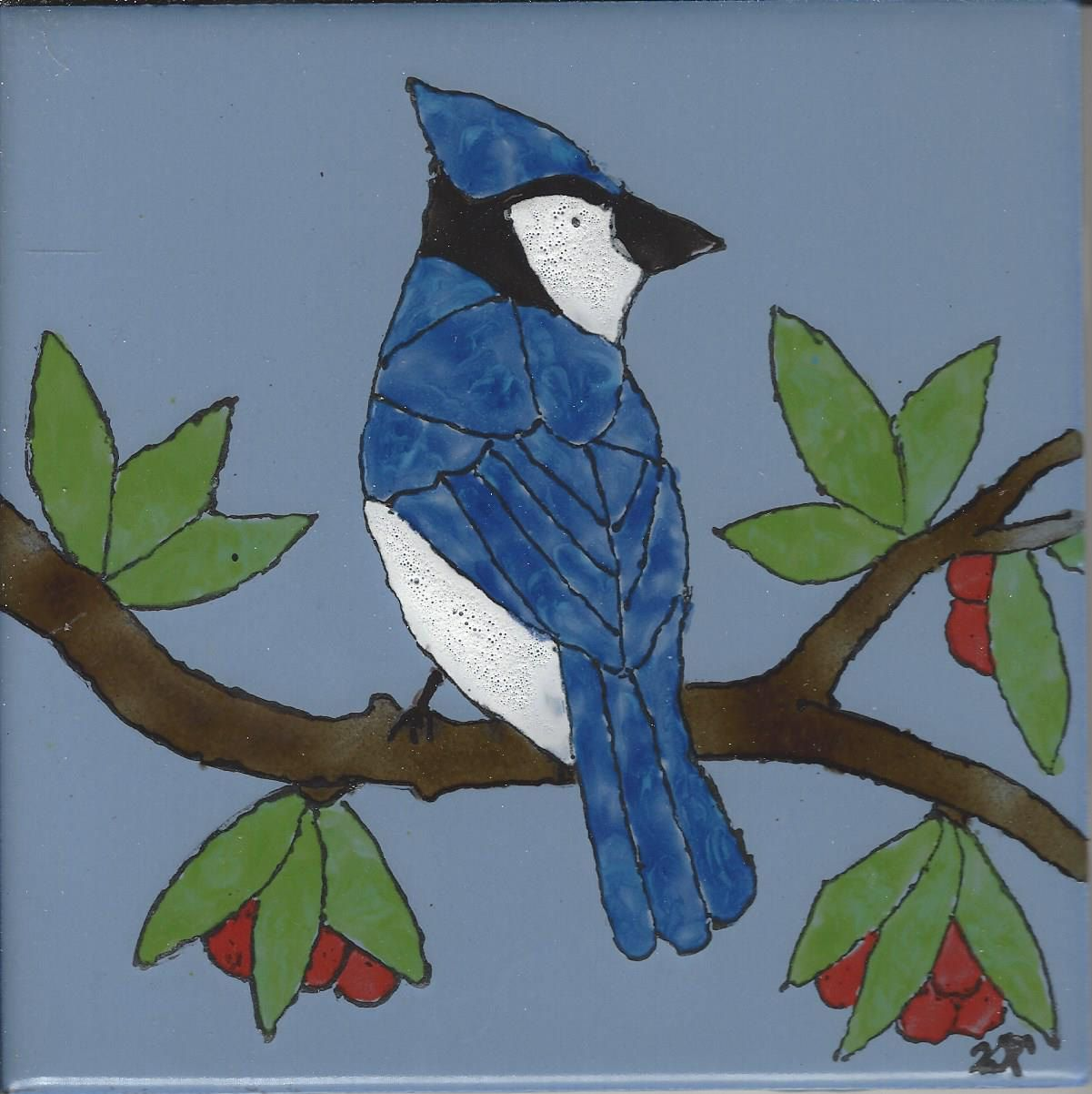 Beautiful Bluejay Hand Painted Kiln Fired Decorative Ceramic Wall ...