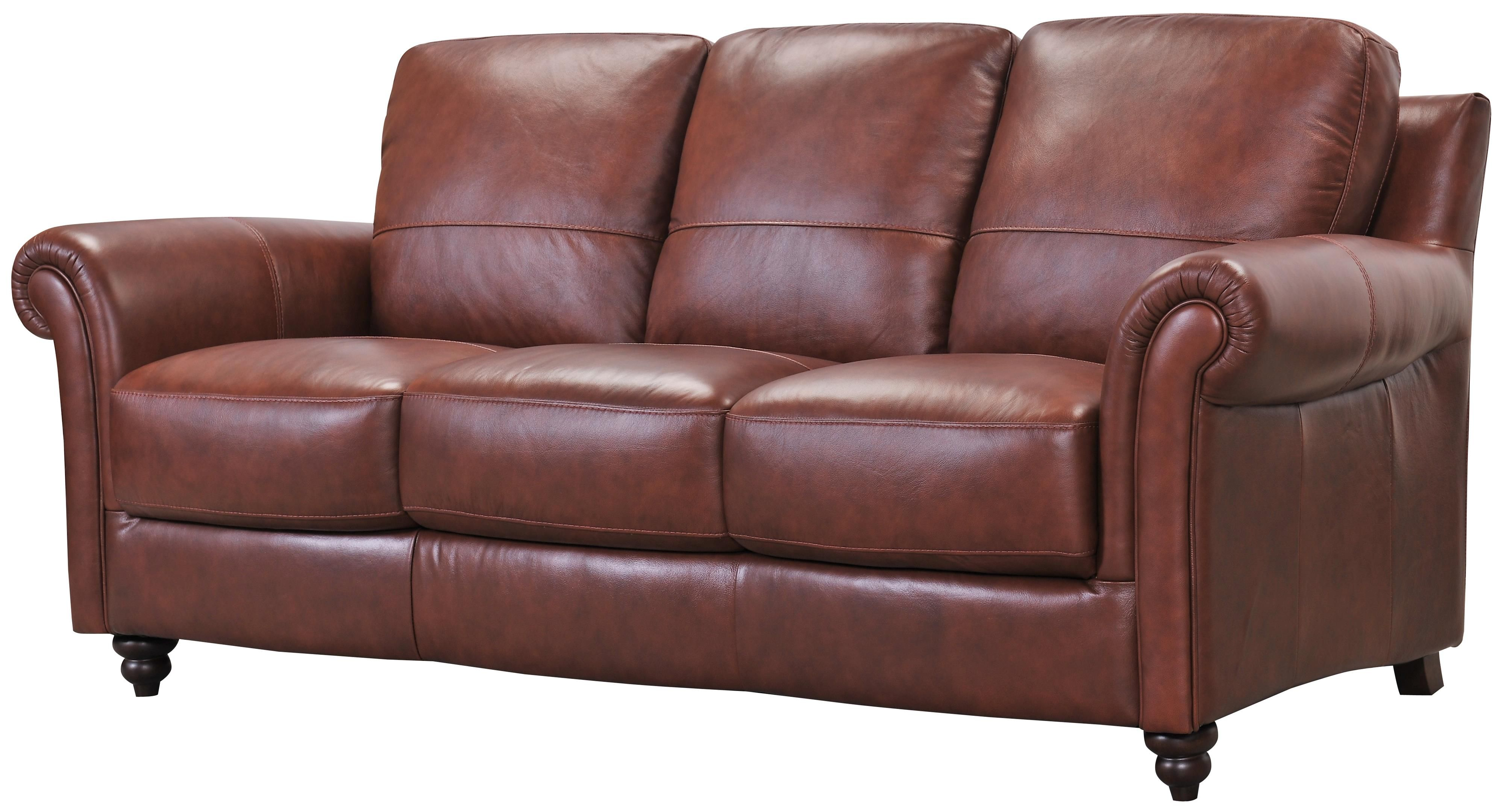 Outstanding Grady Leather Sofa With Rolled Arms And Turned Wood Feet By Machost Co Dining Chair Design Ideas Machostcouk