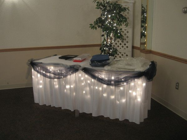 navy blue and white wedding under lighted and navy blue decorated gift table maneeleys in south windsor mj decorations and home improvement