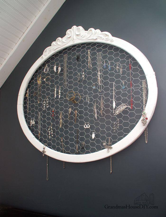 An old frame and chicken wire upcycled into a jewelry hanger ...