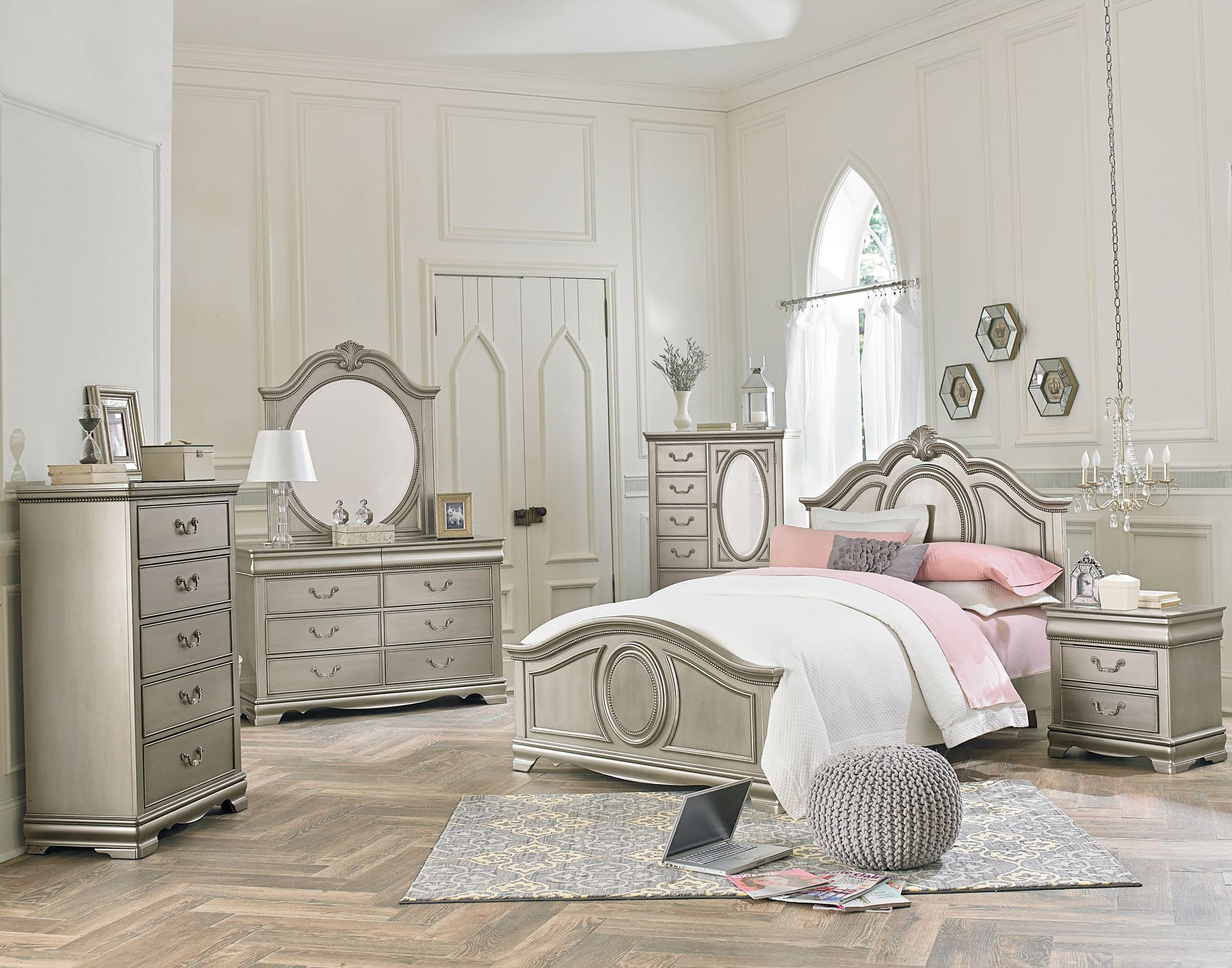 Jessica Silver Youth Bedroom Set Bedrooms Modern