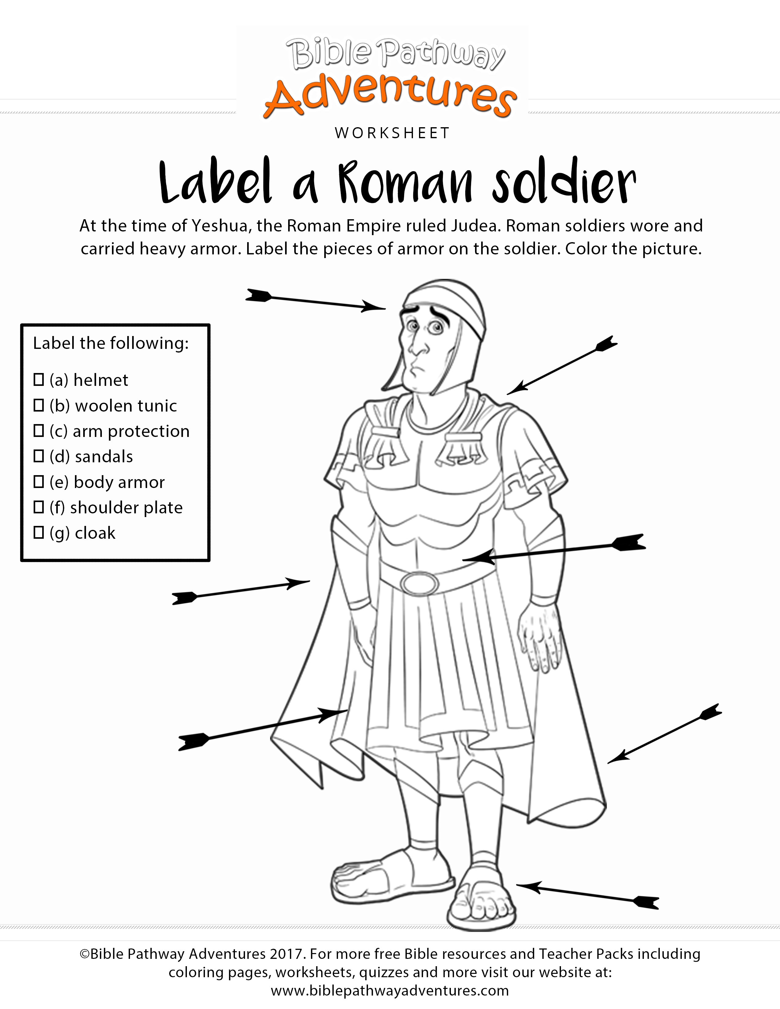 Label a Roman Soldier coloring page and worksheet   Romans for kids [ 3300 x 2550 Pixel ]