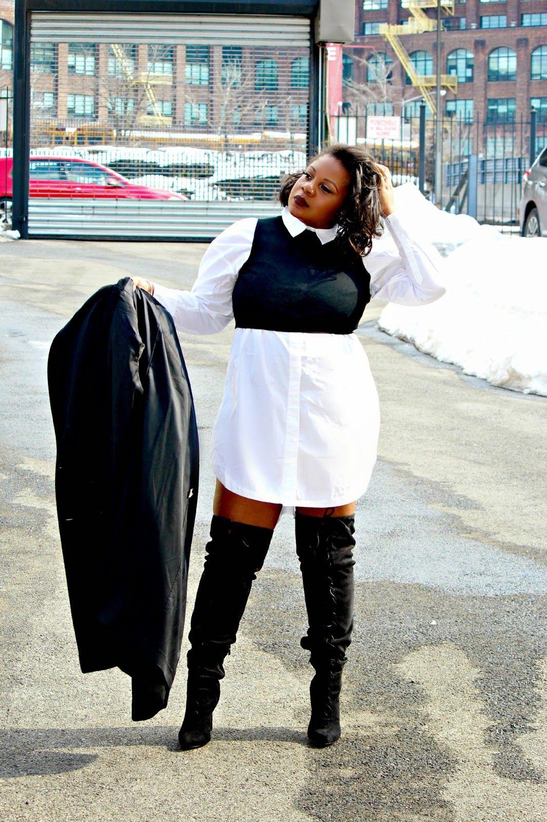 Shirtdress Thigh High Boots Plus Size Style Pinterest Shirt