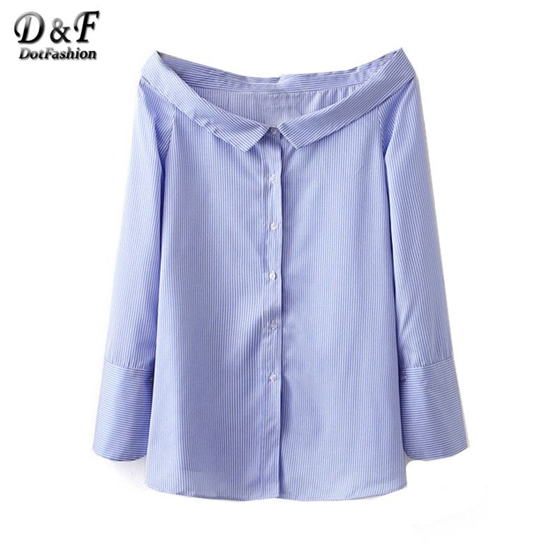 Dotfashion Women's Blue Boat Neck Shirts Work Wear Blue and White ...