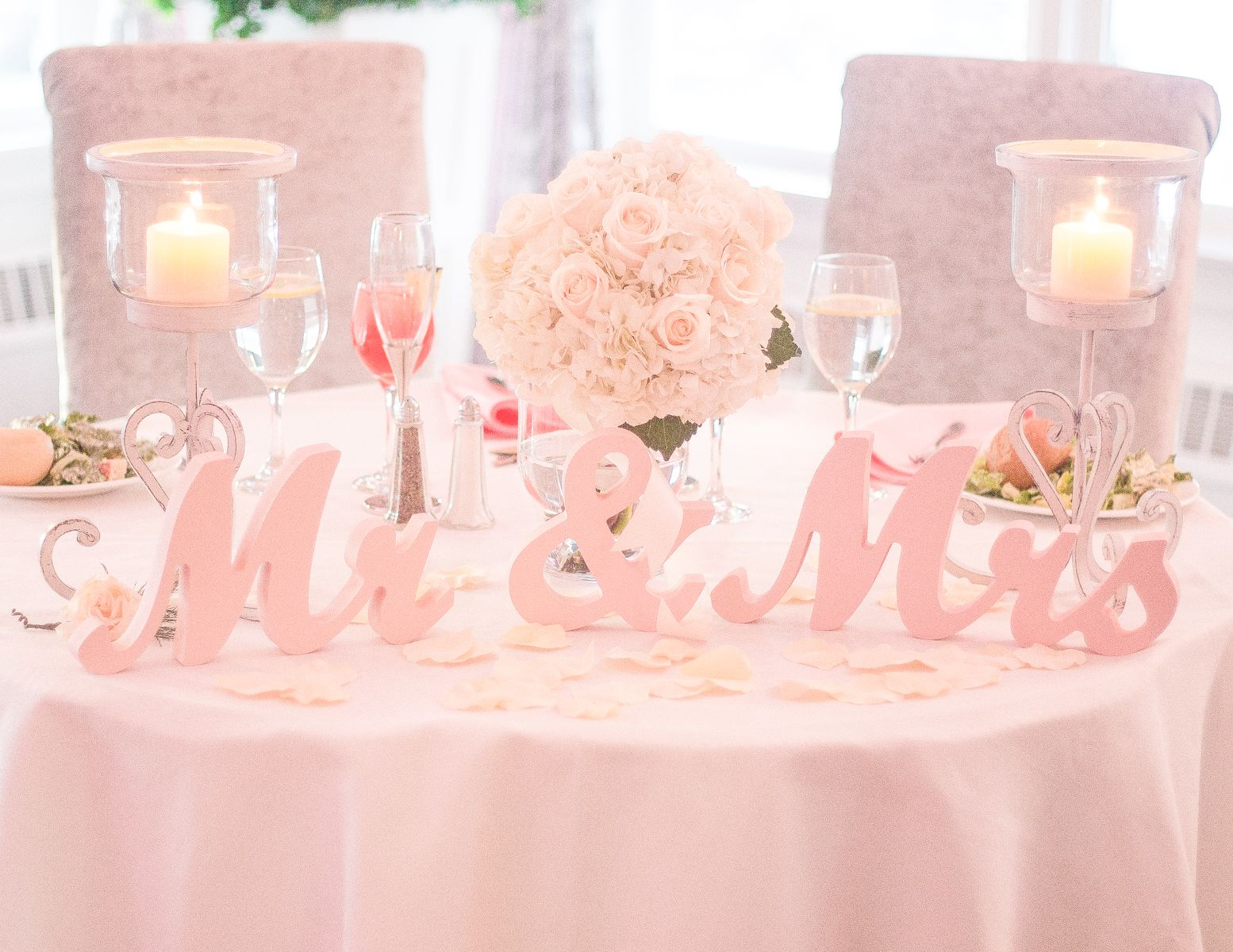Mr & Mrs Table Signs for the Wedding Sweetheart Table or Bridal ...