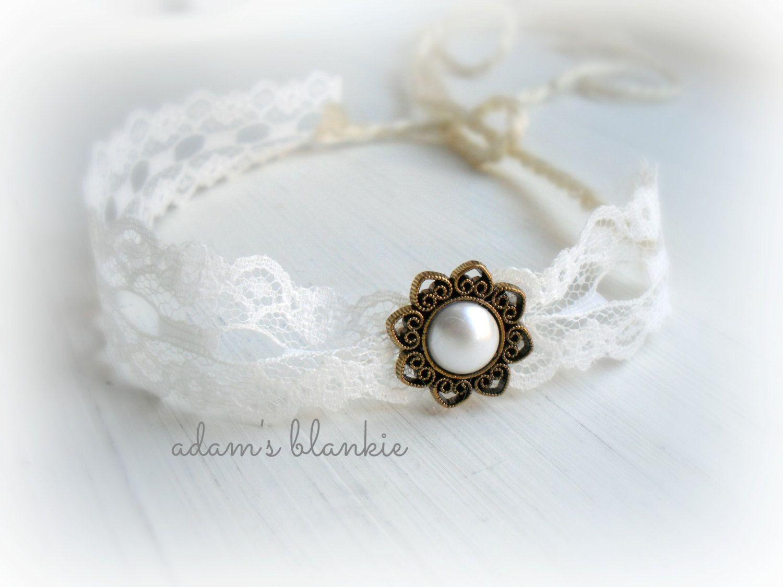 Vintage whip open halo headband wrap tie back bronze gold cream