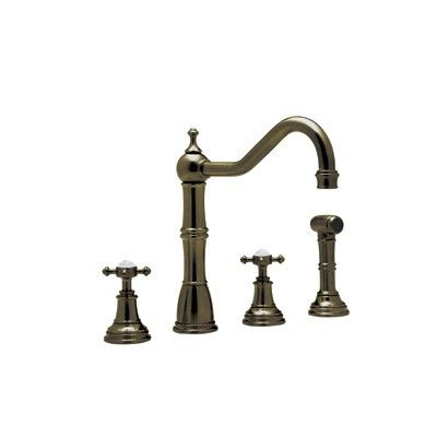 Rohl Perrin Rowe 4 Hole Kitchen Faucet With Cross Handles And Spray