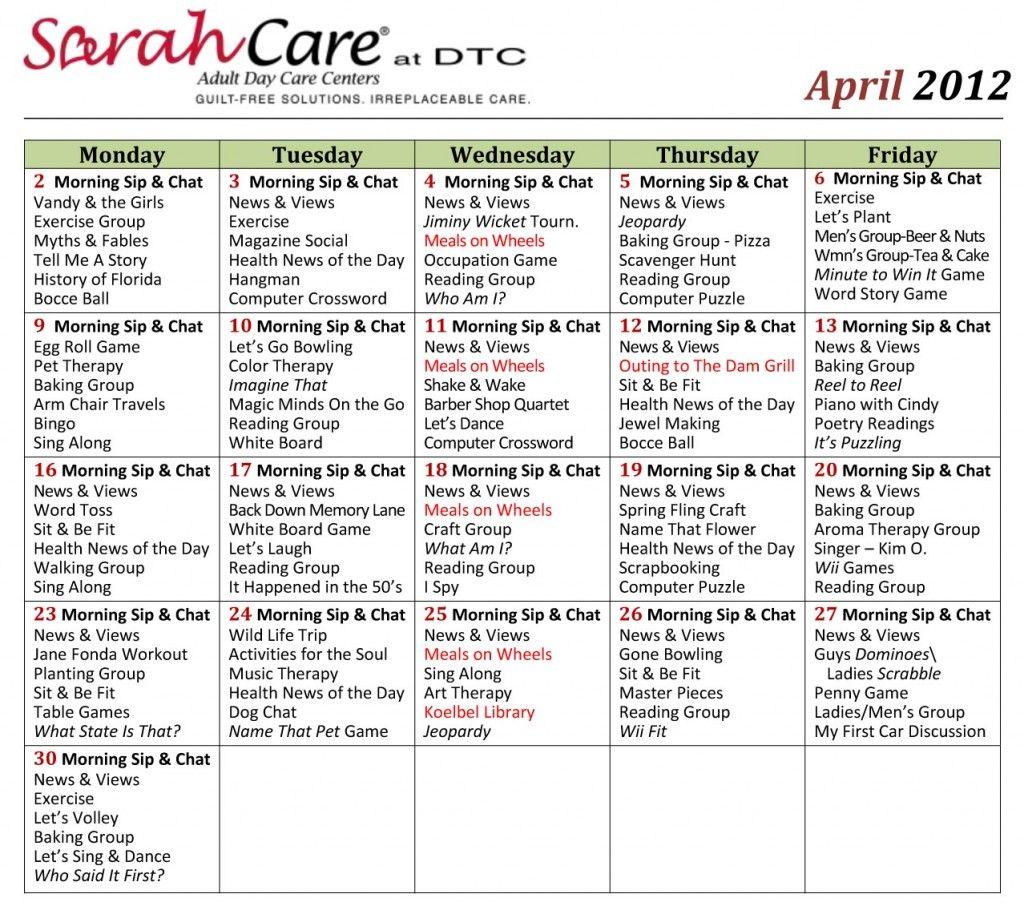 April 2012 Activity Calendar Small Sarahcare Com Assisted Living