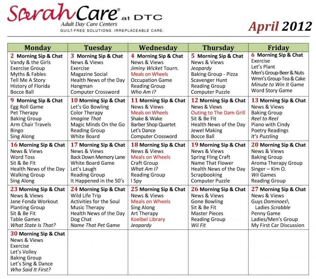 Calendar Ideas For April : April activity calendar small sarahcare other