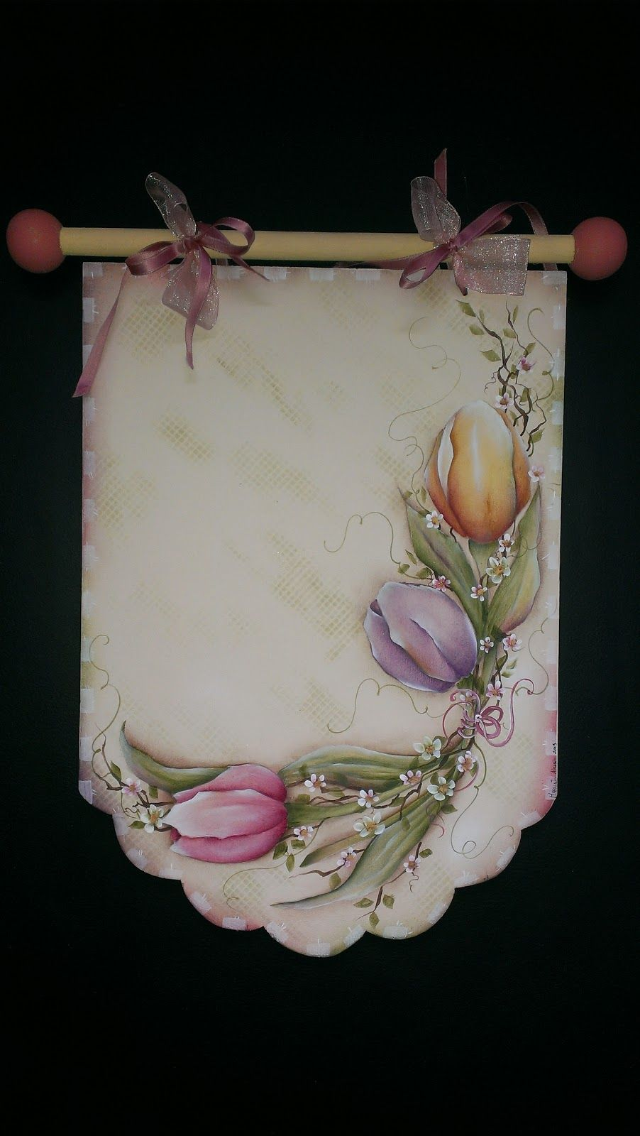 MY COUNTRY PAGE - Tulips Decorative Painting on wall hanging