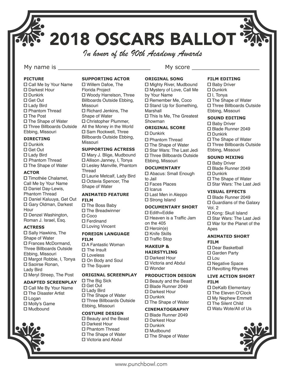 photo regarding Oscar Ballots Printable named Printable Oscars Ballot Hollywood Occasion within just 2019 Oscar
