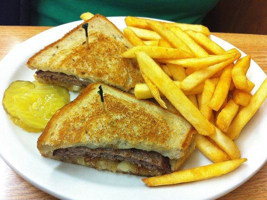 Patty Melt with Choice of Fries and a Drink From The Cafe at Burnt River Market    $6.25