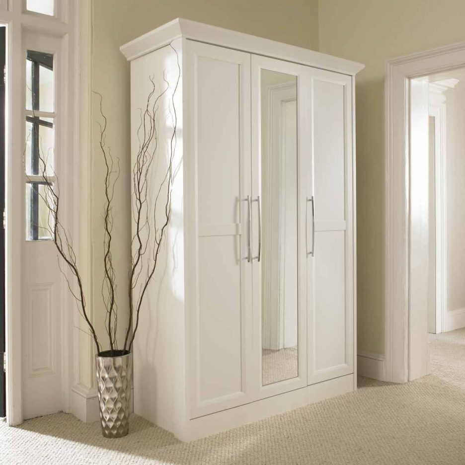White Armoire With Hanging Rod Closet Mirror Glass Door Armoire Tv