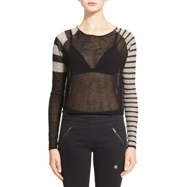 autumn cashmere Stripe Raglan Cashmere Sweater ($176)
