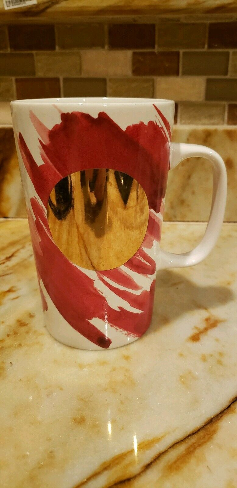 Starbucks Dot Collection Gold Red Paint 2014 Coffee Mug